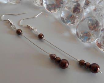 Dangle wedding Pearl Earrings Pearl chocolate brown