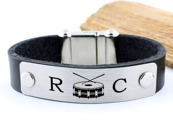 Drummer gifts, drum bracelet, drummer jewelry, musician bracelet, personalized drummer gift, mens initial bracelet, rocker bracelet, mengift