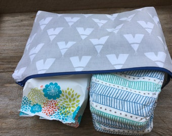 Gray & white teepee lined zipper pouch, diaper pouch, diaper and wipe pouch, handmade cotton zipper pouch, lined zipper pouch
