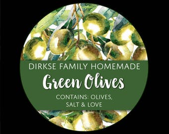 Customized Label for Green Olives - Watercolor Style Canning Jar Label - Wide Mouth & Regular Mouth - Watercolor Olive Canning Label