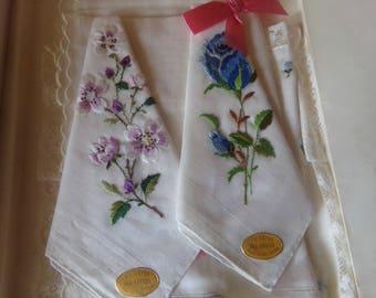 Vintage Set of 4 Embroidered Swiss Handkerchiefs