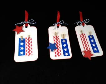 On SALE, Gift tags, red white and blue, 4th of July, birthday, fireworks, firecracker gift tag.