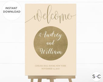 Gold Wedding Welcome Sign Template, Wedding Welcome Sign, Large Wedding Sign, Vintage Glam Wedding, Vintage Wedding, Wedding Welcome