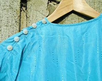 Vintage Dress - 80s Dress - Blue Dress - Summer Dress - Party Dress - Handmade Vintage