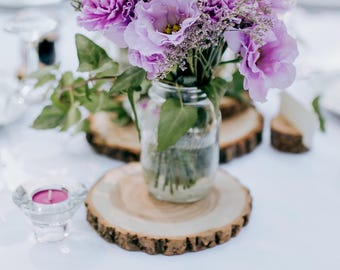 wedding table decor wood slices wood centerpieces