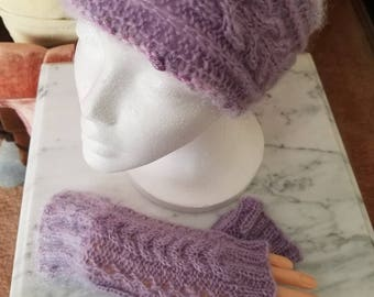 Knitted headband with fingerless gloves set.
