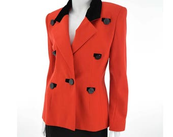 80s Givenchy Red Fitted Blazer-1980s Jacket-Black Velvet Trim-Vintage Designer-M-Med
