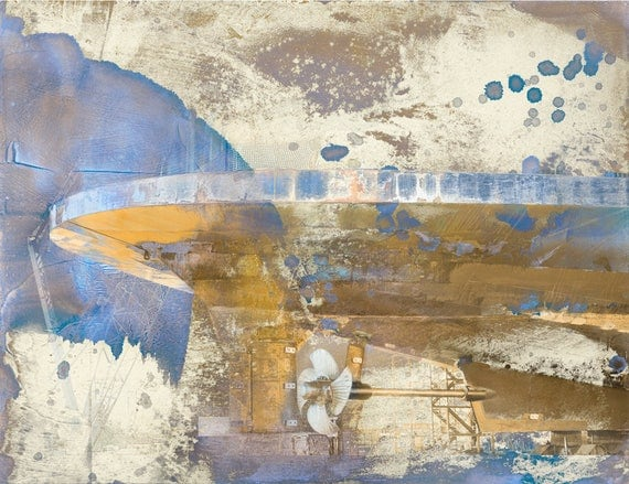 Drydock (The Salish), industrial landscape, industrial art, ship, texture, painting,mixed media, limited edition, fine art print, iskra