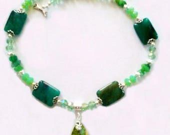Chrysoberyl Crystal and Jade Necklace