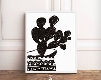 Black Cactus I - Drawing by Faboomie