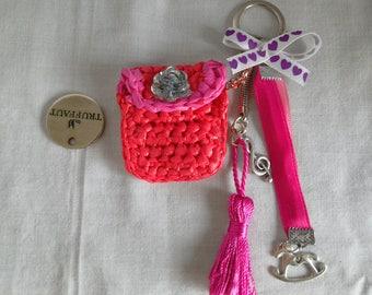 Bag charm, Keychain, bag wears chip caddy, pink, fuchsia, crocheted, upcycling