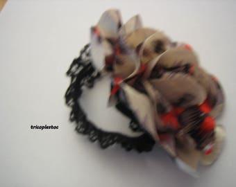Bracelet elastic Black Lace, burlesque, chamare grey/white/black/Red satin flower, handmade