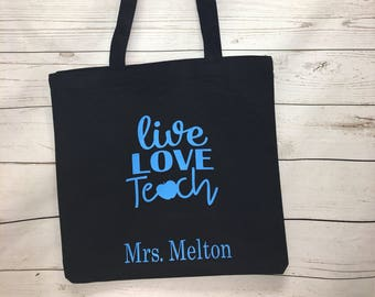 Teacher Tote Bag, Gifts, Personalized Totes, Gift for her, Teacher Appreciation, Teacher Gift, Totes, Bags and purses, Monogrammed Tote Bags