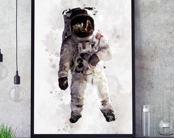 Astronaut Poster, NASA Print, Kids Room Astronaut Wall Art, Nasa Decor, Watercolour Space Art, Nursery Decorations, Giclee Art (N310)