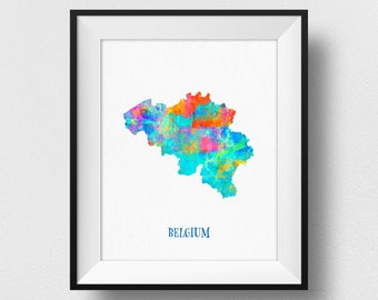 Belgium Map Print, Belgique Map Poster, Map of Belgian Wall Art, Watercolour Belgium Print, Map Poster, Belgium Home Decor (712)