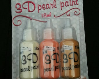 Set of three pots of paint 3D - 3 colors