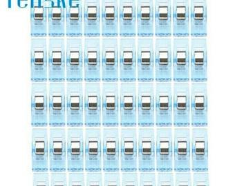 Set of 50 clips plastic blue fabric