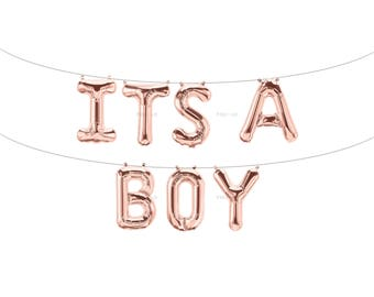 ITS A BOY Rose Gold Letter Balloons | Metallic Letter Balloons | Rose Gold Party Decorations