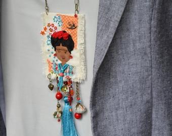 OOAK Frida Kahlo Pendant,  Frida Kahlo Necklace-Unique Frida Kahlo Jewelry-Frida Kahlo Gift-Mexican Artist-Unique Gift  -Boho necklace