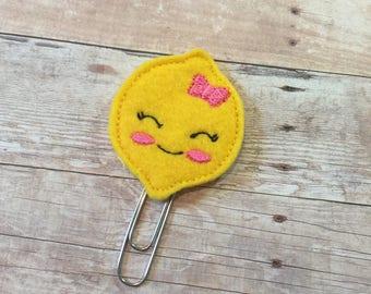 Cute Kawaii Lemon Feltie Planner Clippie