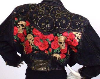 Jacket short rare Vintage black denim head dead + pink