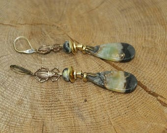 Earrings Amazonite, beetle, serpentine, brass