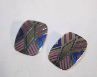 Rare Laurel Burch Vintage ''Quintessence''  Cloisonne Earrings Silver Purple Blues Posts