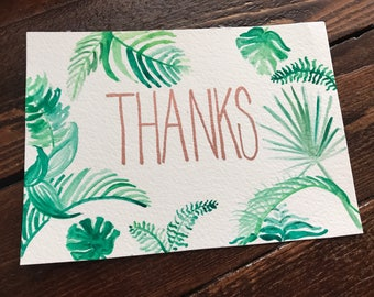 tropical thank you card, tropical gratitude card (set of 15)