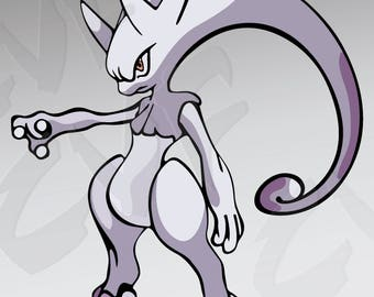 Vector POKEMON character, Mewtwo, ai, eps, png, pdf, svg, jpg Download files, Digital, graphical, discount coupons