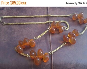 ON SALE Vintage Necklace with Amber Beads