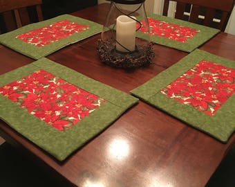 Poinsettia Holiday Placemats-set or 4