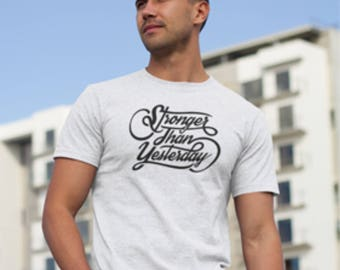 """Printed T-shirt with """"Stronger than yesterday"""" Logo, """"Stronger than yesterday"""" logo print T-shirt, , Stronger than yesterday T-Shirt."""