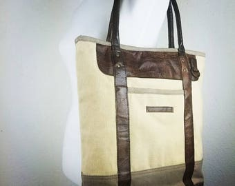 Designer Rustic Tote ~ Laptop Tote ~ Leather Tote ~ Canvas Tote ~ Leather Canvas Tote ~ Spacious Handbag ~ Travel Tote ~ Signature tote