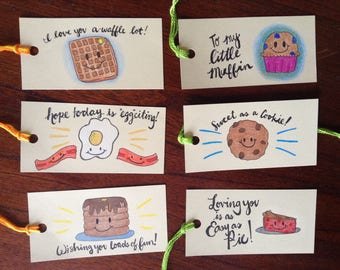 Yummy Food Gift Tags, Birthday and Special Occasion, Breakfast Foods Gift Tags, Sweet Treats Gift Tags, Gift Tags for Kids