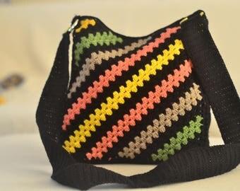 Multicoloured knitted shoulder bag,Knitted hand bag ,Knitted handbag, Braided bag,Stylish desinged bag, Crochet bag