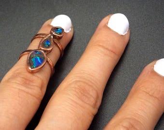 Blue opal midi ring