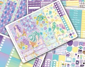Mermaid DELUXE Weekly Planner Kit, Planner Lover, Colorful, Planner Stickers, Erin Condren Vertical, ECLP