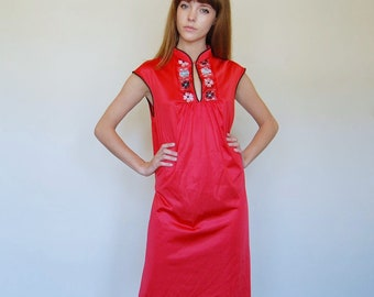 asian style red nightgown dress / (s-m)