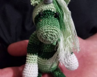 Wintergreen the hand crocheted collectable miniature zebracorn/unicorn
