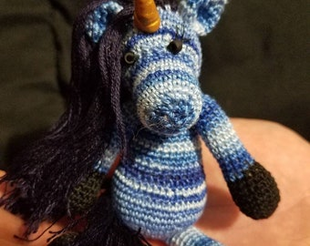 Bluebell the hand crocheted collectable miniature zebracorn/unicorn