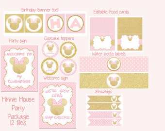 Minnie Mouse Pink and Gold party Package, Minnie Mouse Birthday, Minnie Mouse pink gold, Digital File.