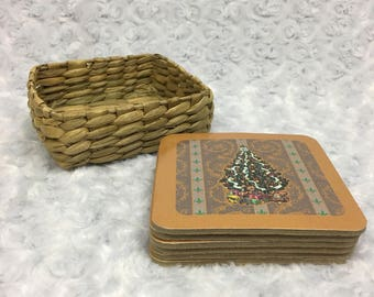Six (6) Vintage Christmas Tree Holiday Square Coasters with Cork Material, comes in small wicker basket