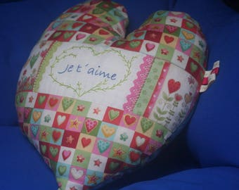 Heart shaped pillow embroidered I love you