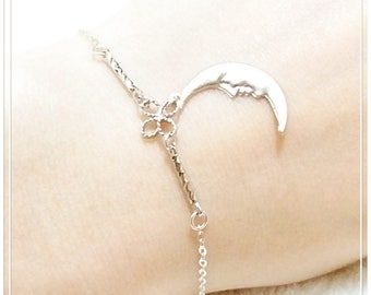 Original Rhodium Plated / Matte Silver Plated Bracelet, New Moon, Special