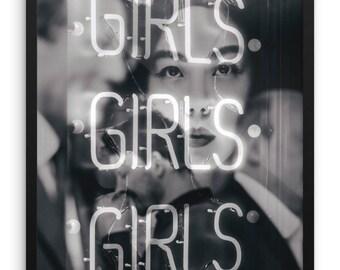 Girls Girls Girls Photography Print   Large Wall Art   Abstract Art   Geisha   Conceptual   Typography   Dark   Home Decor   Reflection