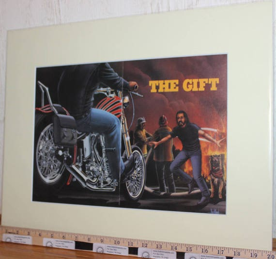 "David Mann ""The Gift"" 16"" x 20"" Matted Motorcycle Biker Art #9512ezrxmc"