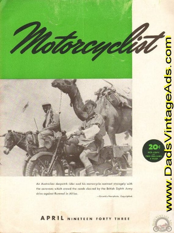 1943 April Motorcyclist Motorcycle Magazine Back-Issue #4304mc