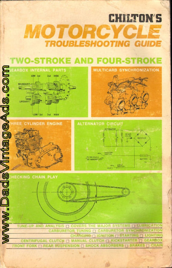 1973 Chilton's Motorcycle Troubleshooting Guide - Two-Stroke & Four-Stroke Book #mb663