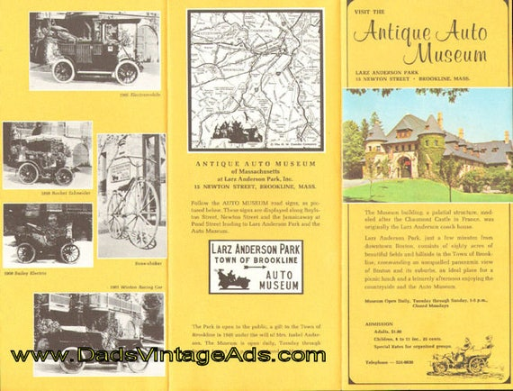 1971 Larz Anderson Antique Auto Museum, Brookline Massachusetts Brochure #mb697