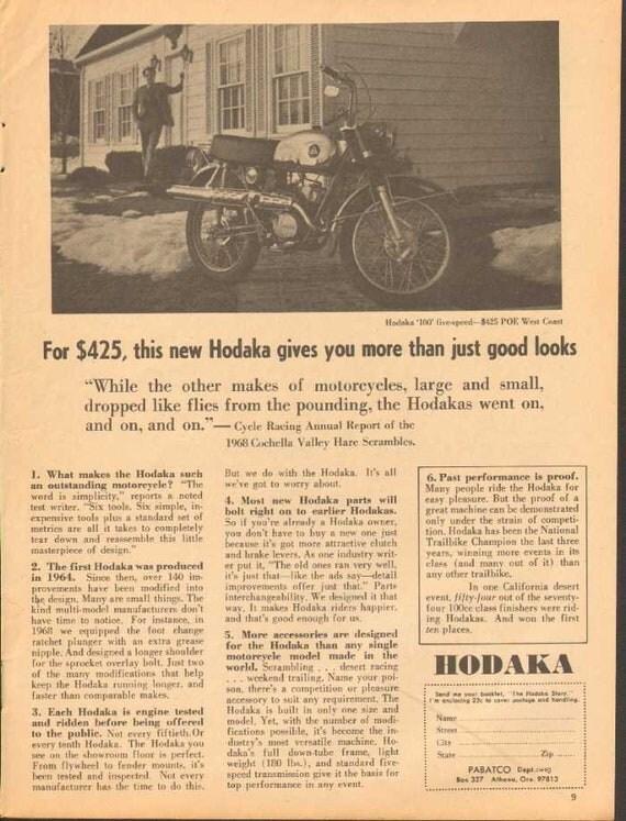 1969 Hodaka 100 Pabatco Motorcycle Ad #nbk10